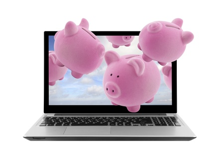 Laptop and piggy banks isolated on white photo