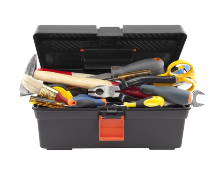 Open black toolbox with tools  Clipping path included