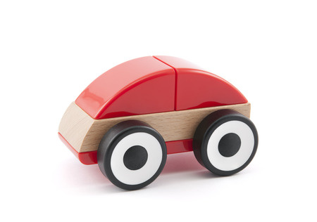 toy truck: Wooden red car toy