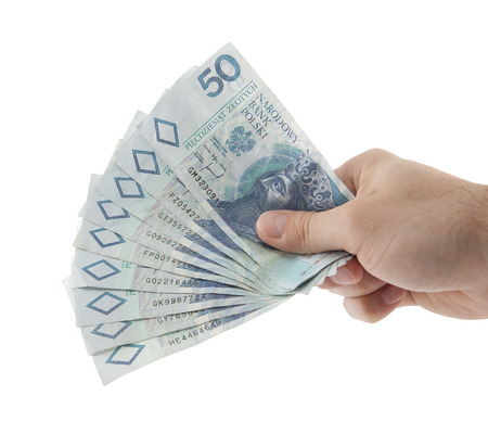 paper currency: Polish money in hand    Stock Photo