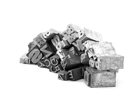金属製凸版クリッピングパスを持つブロックを印刷 写真素材