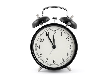 five to twelve: Black old style alarm clock with clipping path