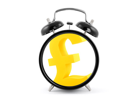 Time is money  Alarm clock with golden pound symbol  photo