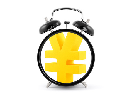 Time is money  Alarm clock with golden yen symbol  photo