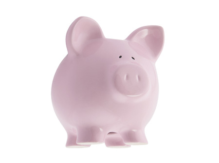 Floating pink piggy bank with clipping path photo