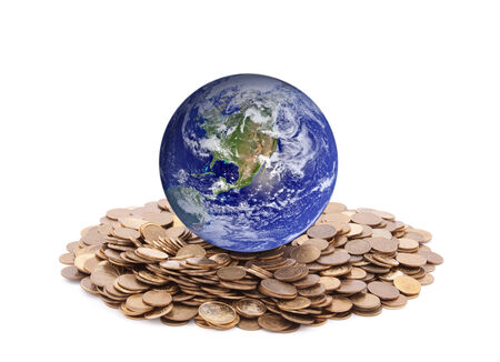 World standing on money  Earth image provided by Nasa  photo