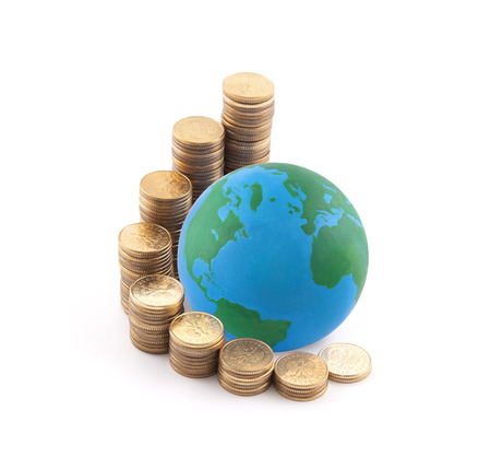 international money: World standing on money Stock Photo