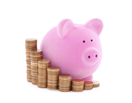Piggy bank and stacks of coins with clipping path Imagens