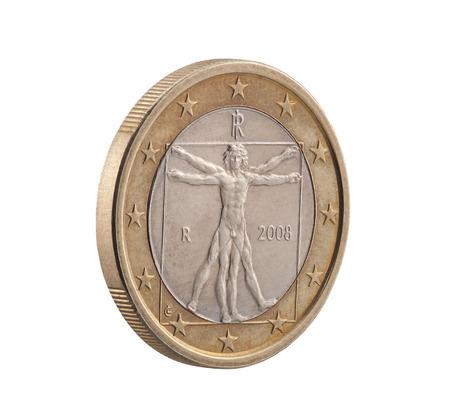 uomo vitruviano: Italiana Un euro con Uomo Vitruviano. Clipping percorso incluso. Archivio Fotografico