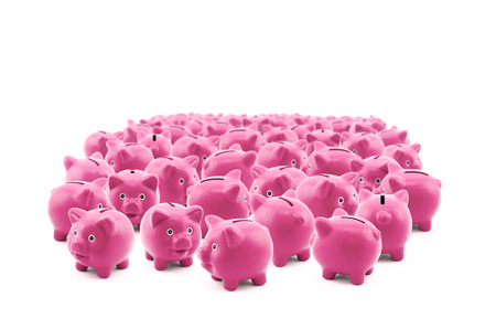 commotion: Large group of pink piggy banks