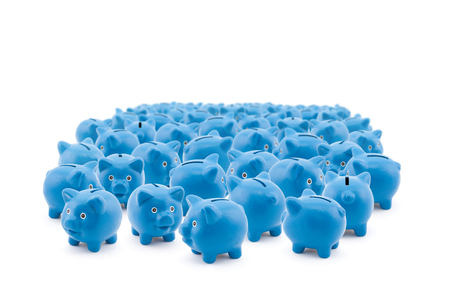 commotion: Large group of blue piggy banks Stock Photo