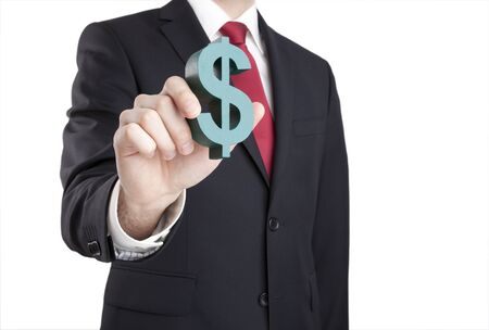 path to wealth: Businessman holding dollar sign with clipping path Stock Photo
