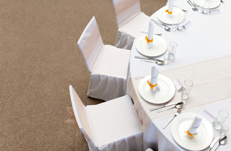 setting: Wedding table Stock Photo