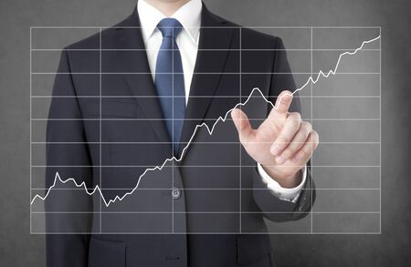 business graphics: Businessman with growing chart