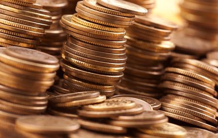 golden coins: Golden coins macro shot Stock Photo