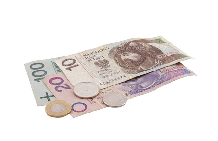 Polish money isolated on white with clipping path Stock Photo