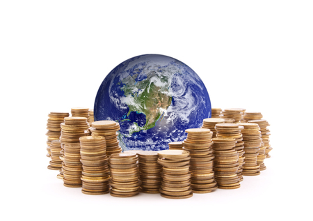 global investing: World standing on money. Earth image provided by Nasa. Stock Photo
