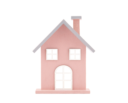 toy house: Small wooden toy house isolated on white