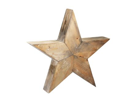 wood texture: Wooden star isolated on white background