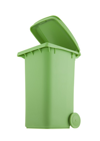 box: Green recycle bin isolated on white background with clipping path Stock Photo