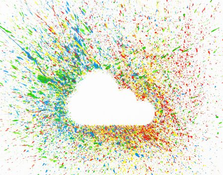 Cloud shape over background with colorful splashes