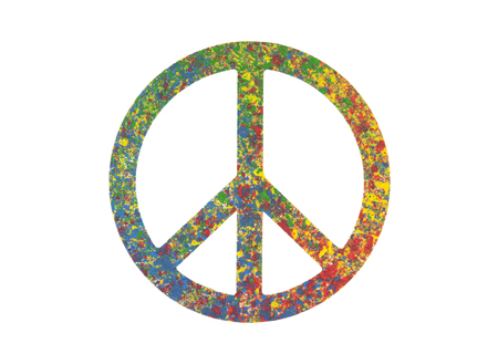 Colorful painted peace symbol isolated on white with clipping path