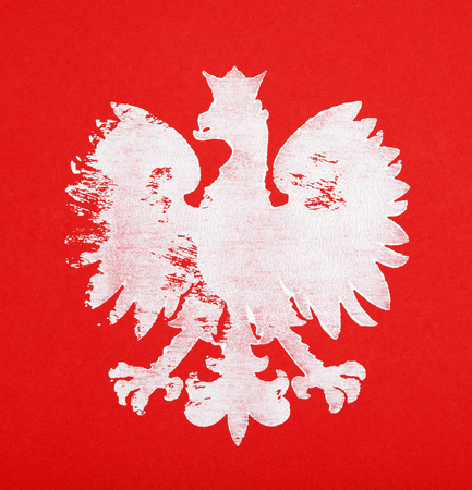 articles: Painted polish coat of arms on red background