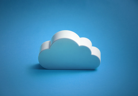 White cloud shape over blue background