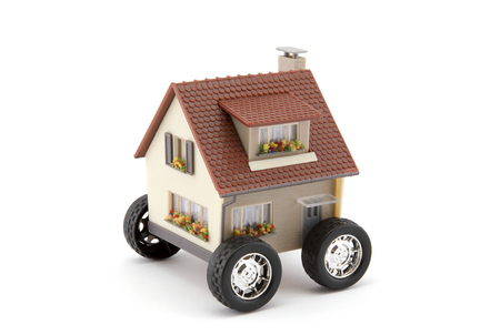 House on wheels isolated on white with clipping path Foto de archivo