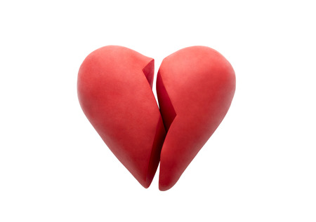 Broken heart isolated on white background with clipping path