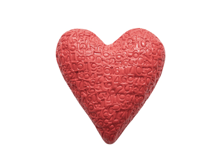 Red heart with imprinted digits isolated on white background Stock Photo