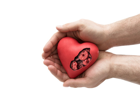 Red mechanical heart in hands isolated on white with clipping path Stock Photo