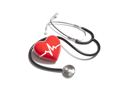 Medical stethoscope with heart pulse Stock Photo