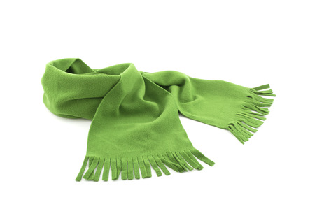 Green scarf on white background