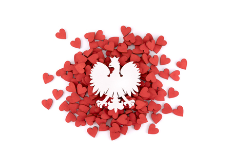 Polish coat of arms on many red hearts