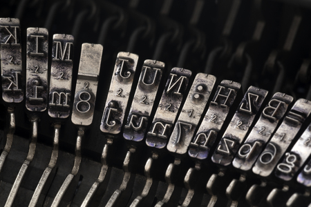 Close up of vintage typewriter letters Imagens - 107746064