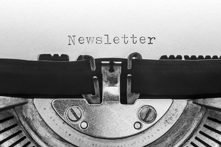 Newsletter typed on a vintage typewriter Imagens