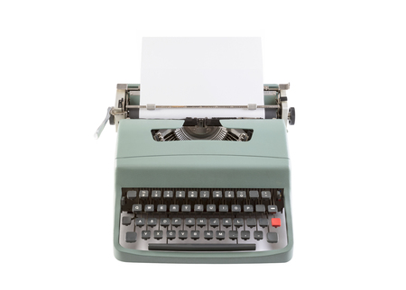 c8ad4c126f8 Vintage typewriter header with paper isolated on white background with clipping  path