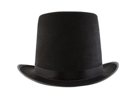 Black vintage top hat isolated on white background