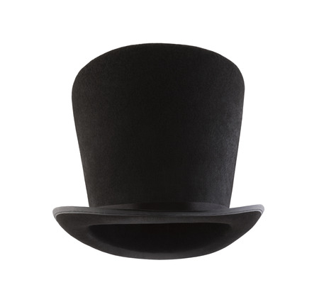 Extra tall black vintage top hat isolated on white background Stok Fotoğraf - 119670334