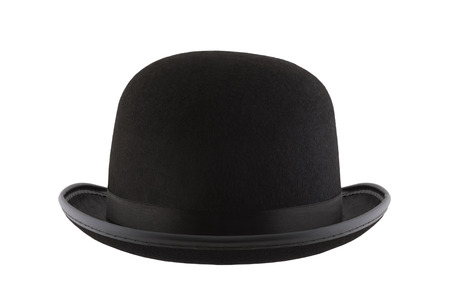 Chapeau melon noir isolé sur fond blanc
