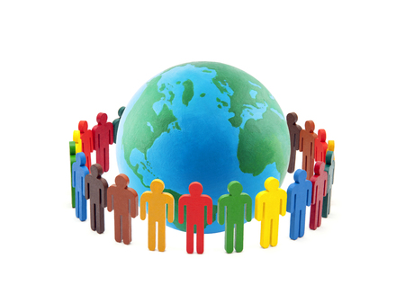 Circle of colorful people around the globe on white background
