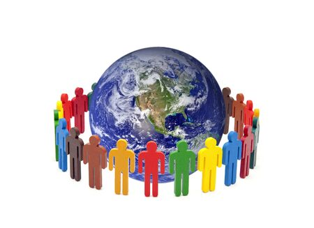 Circle of colorful people around the globe on white background.