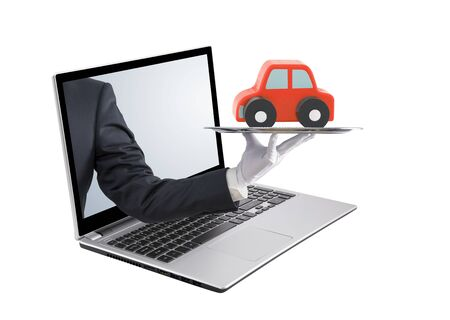 Businessman offering a laptop on a silver screen. Isolated on white Stock Photo