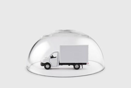 Cargo delivery truck protected under a glass dome