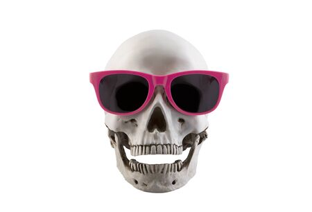 Human skull with pink glasses and open jaw isolated on white background