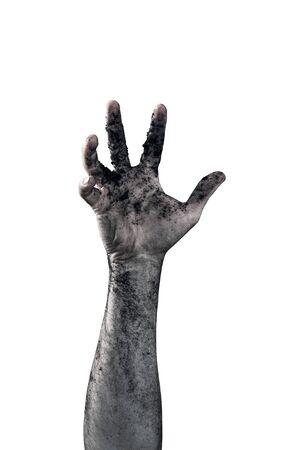 Main de zombie sale avec de la terre isolé sur fond blanc Banque d'images