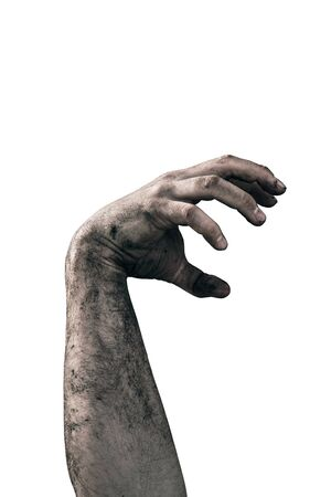 Zombie hand dirty with soil isolated on white background 写真素材