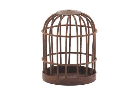Retro rusty cage isolated on white background