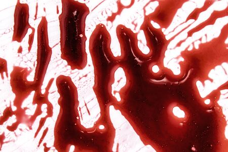 Red bloody marks on white background 写真素材